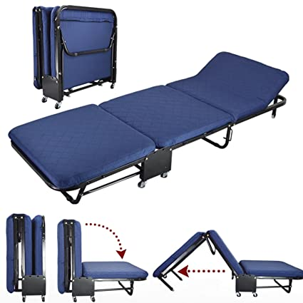 All In One Rollaway Guest Bed Heavy Duty Steel Frame With Foam Mattress  With Diamond Style