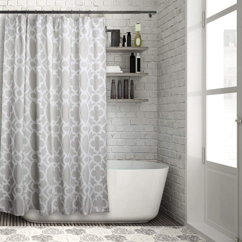 Vera Neumann Melanie Geometric Fabric Shower Curtain Liner Waterproof, 70 x 72, Grey/White
