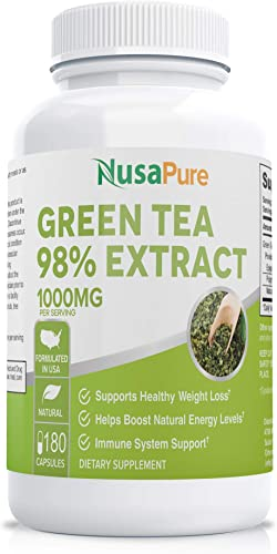 Green Tea Extract 98 1000mg with EGCG 180 Capsules Non-GMO Gluten Free Max Potency for Weight Loss Metabolism Boost – Natural Caffeine for Gentle Energy