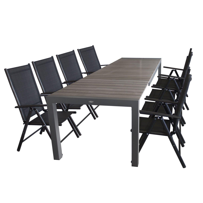 Gartengarnitur Ausziehtisch, Aluminiumrahmen, Tischplatte Polywood, 205/275x100cm, Grau + 8x Hochlehner, Aluminiumgestell, Textilenbespannung Schwarz, Rückenlehne 7fach verstellbar