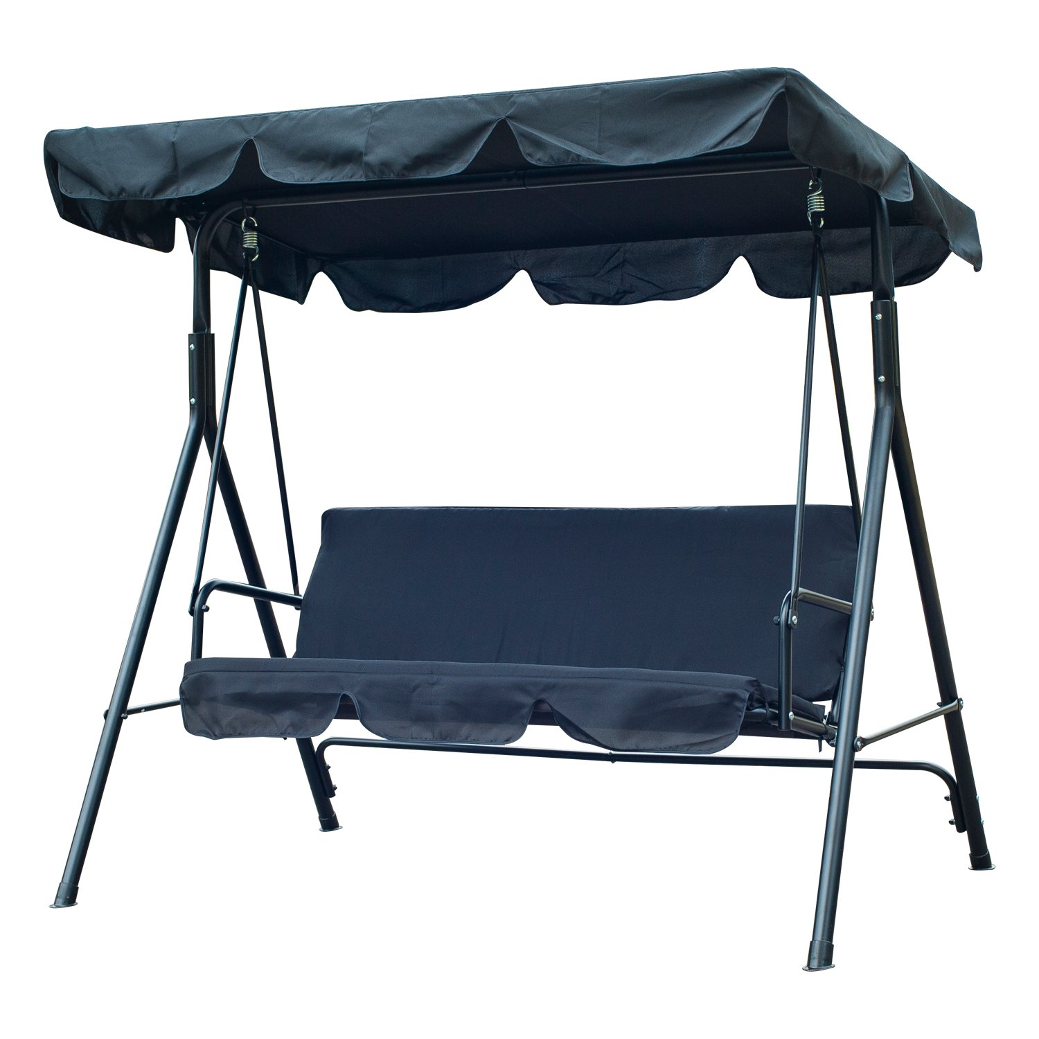 Amazon.com : Outsunny 3 Person Canopy Porch Swing   Black : Patio, Lawn U0026  Garden