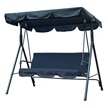 Outsunny 3 Person Canopy Porch Swing   Black