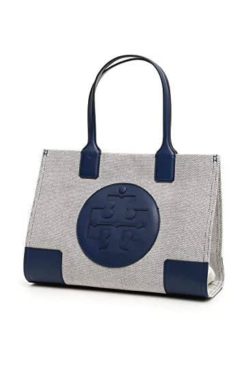 f8b54a790e0c Amazon.com  Tory Burch Women s Ella Canvas Tote Navy Handbag Mini  Shoes