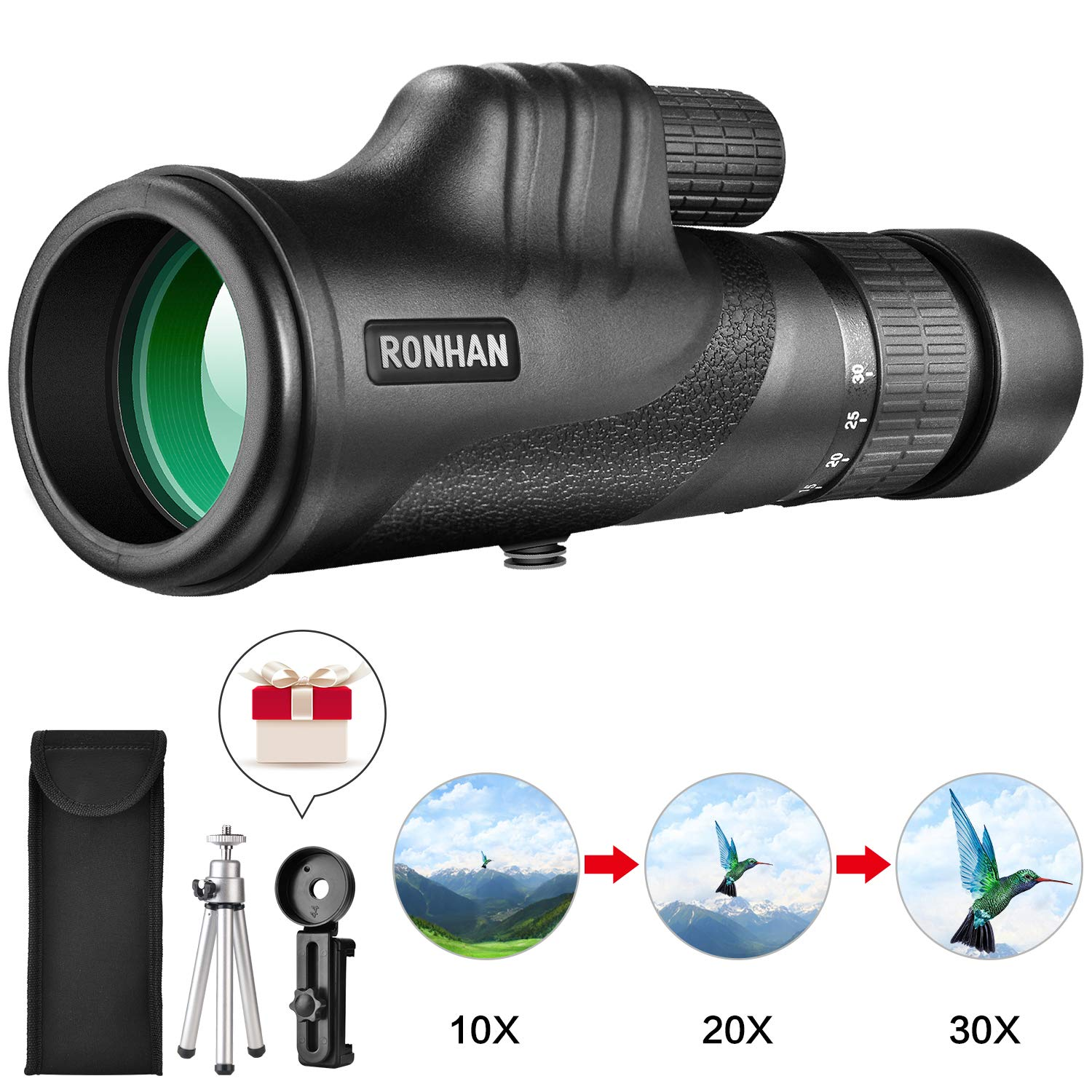 Monocular Telescope, 10-30X42 High Power HD Zoom Monoculars-BAK4 Prism FMC Optical Lens with Smartphone Adapter & Tripod, Compact Waterproof monocular for Adults Kids Bird Watching Traveling Wildlife by RONHAN