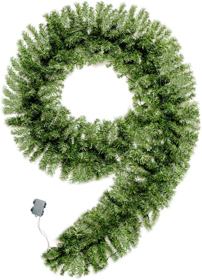MRNIU Green Christmas Garland with Lights, 70 LED 9 Foot by 15.7 Inch Battery Powered Waterproof String Light with Timer Pre-Lit Indoor Outdoor Xmas Artificial Decorations for Doors Stairs Fireplace