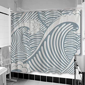 Uneekee Blue Wave Shower Curtain Small