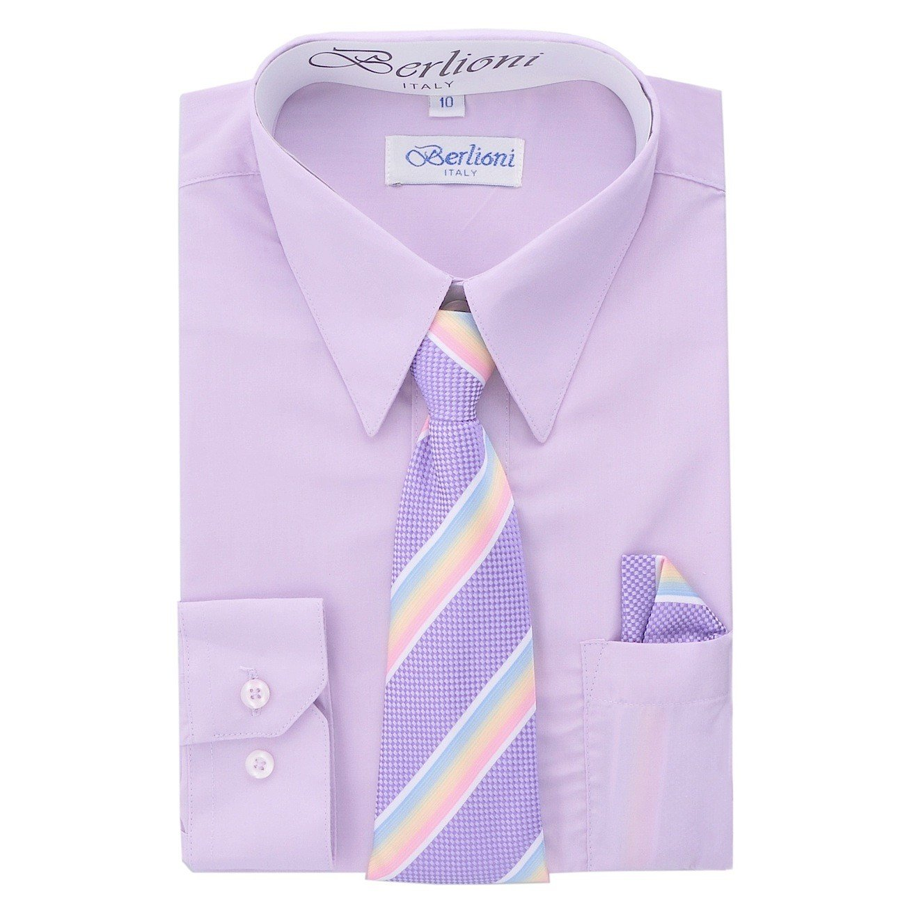 Boy's Dress Shirt, Necktie, and Hanky Set - Lilac, Size 12 Boy's Dress Shirt N-711