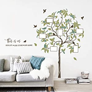 decalmile This is us Large Family Tree Wall Decal DIY Photo Frame Wall Stickers Bedroom Living Room Sofa TV Background Wall Art Decor(Tree Size: 63.4 Inches, Photo Frame: 4x6 Inches)
