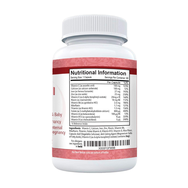 Prenatal Plus de Mamas Select - Vitaminas y minerales prenatales - Suministro para 3 meses de 90 cápsulas de larga duración - Con hierro, ácido fólico y ...