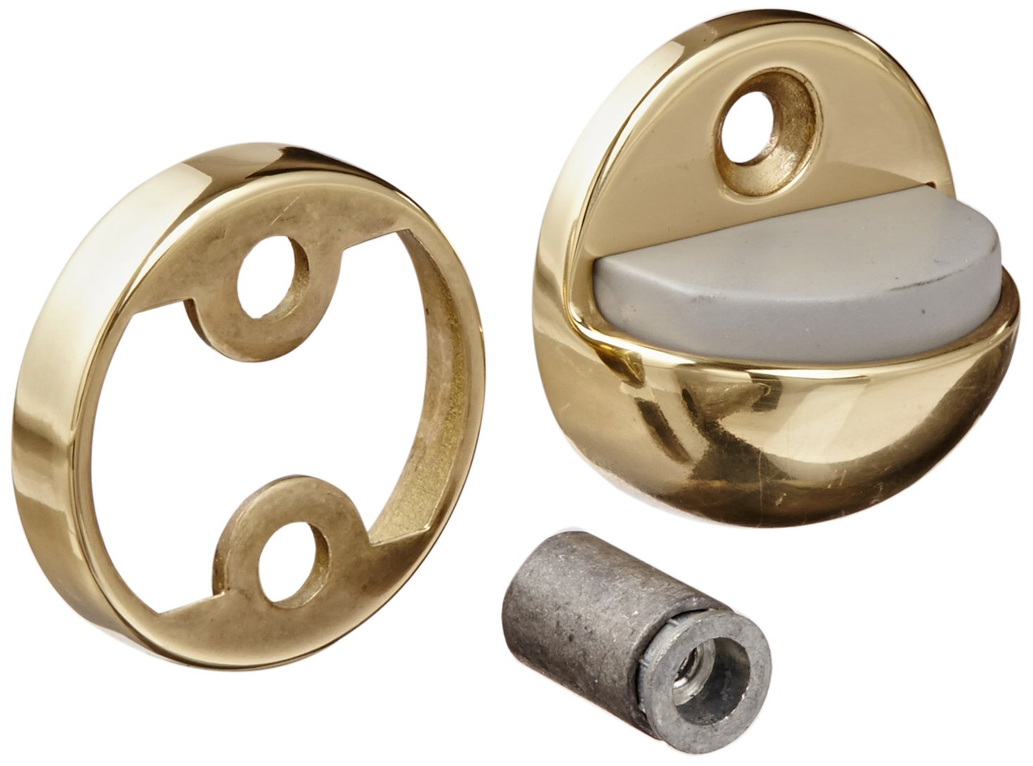 1-7//8 Base Diameter x 1-1//4 Base Length Polished Clear Coated Finish #12 X 1-1//2 FH WS Fastener with Plastic Anchor and 12-24 x 1-1//2 FH MS Fastener with Lead Anchor Rockwood 441CU.3 Brass Floor Mount Dome Stop Combination Unit