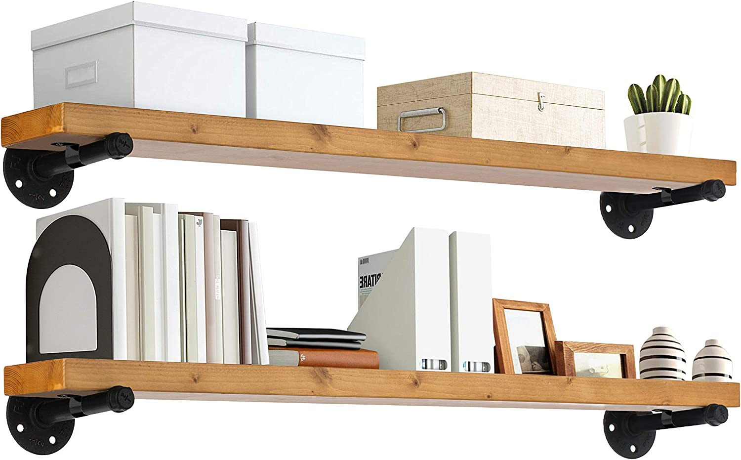 """TEN49 Industrial Wood Shelf - 36"""" Special Walnut Rustic Wooden Wall Shelves with Iron Pipes - Contemporary Interior Decor Floating Shelving with Pipe Brackets - Farmhouse Style Bookshelf Set of 2"""