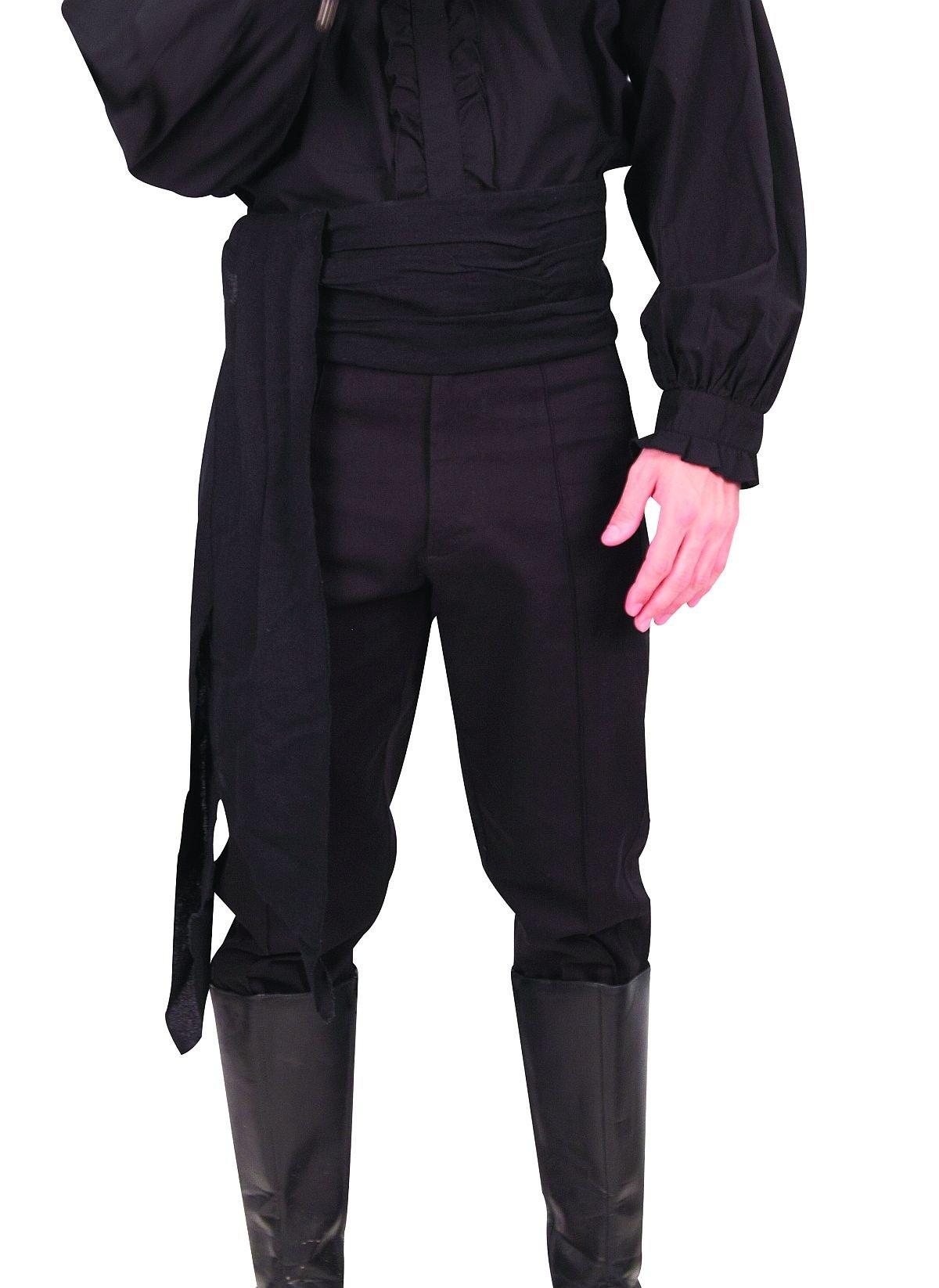 Zorro or Don Juan Shirt Renaissance Men's Black Cotton Trill Riding Pants (Medium)