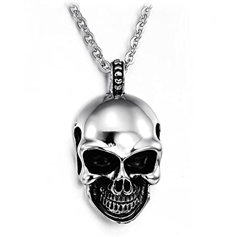 Amazon give gift jewelry mens gothic skull stainless steel pendant give gift jewelry mens gothic skull stainless steel pendant necklace silver black 18 26 inch mozeypictures Gallery