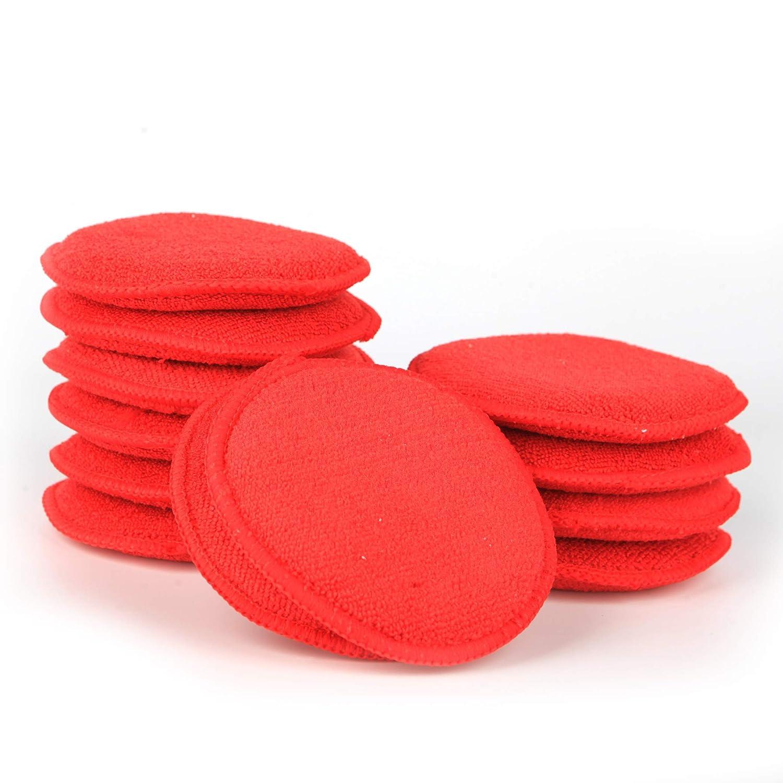 Amazon com carcarez microfiber foam car wax applicator pad for hand polish 12 pcs red automotive