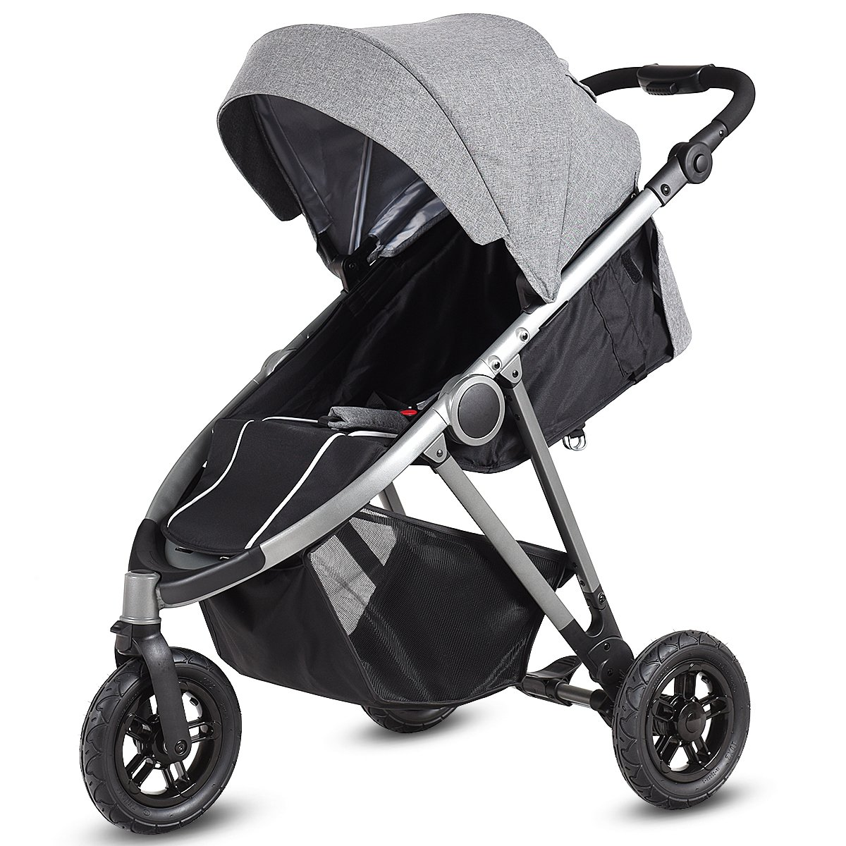 BABY JOY Jogger Stroller, 3-Wheel Baby Travel Stroller, Reclining Seat with Adjustable Handlebar and Storage Basket