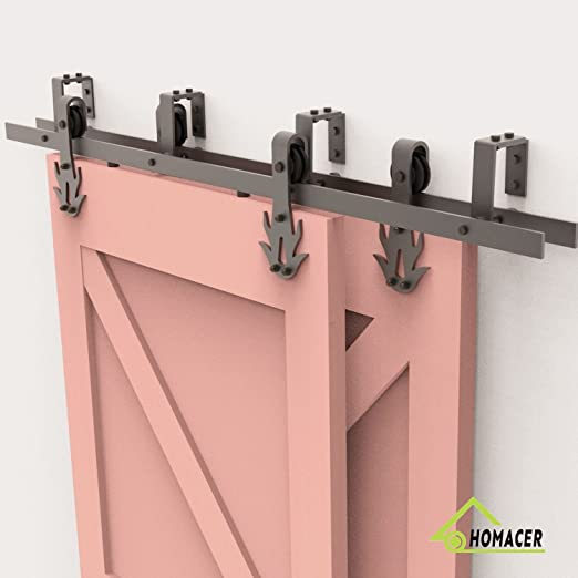 Homacer Sliding Barn Door Hardware Single Track Bypass Double Door Kit 9FT Flat Track Classic Design Roller Black Rustic Heavy Duty Interior Exterior Use