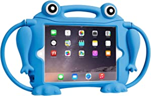 Kids Case for iPad Mini 1 2 3 4 5 - CHIN FAI [Eye Popping Frog] Shockproof Silicone Handle Stand Protective Cover for Apple 5th Generation iPad Mini 2019 and iPad Mini with Retina Display (Blue)