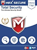 Max Secure Software Total Security for PC 2019 | Antivirus | Internet Security | 3 Device | 1 Year | (Activation Key Card)