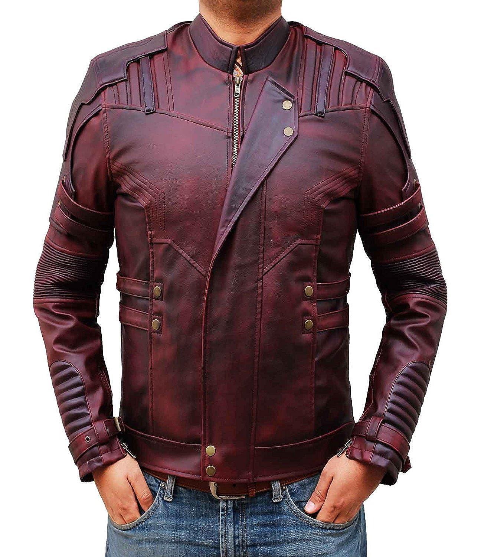 BlingSoul Red Leather Jacket Mens - Distressed Biker Jacket Costumes