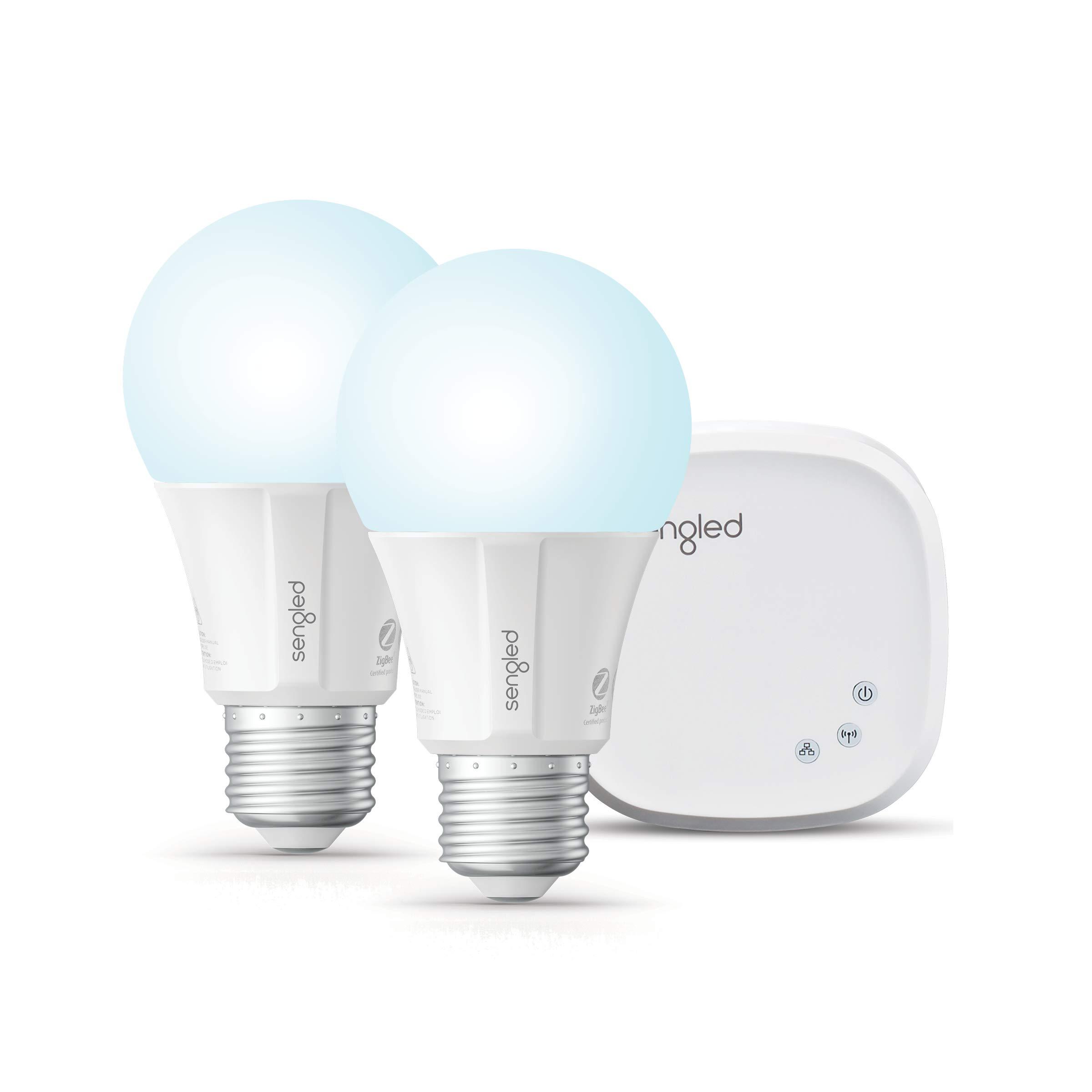 Sengled Smart LED Daylight A19 Starter Kit, 5000K 60W Equivalent, 2 Light Bulbs & Hub, Works with Alexa & Google Assistant