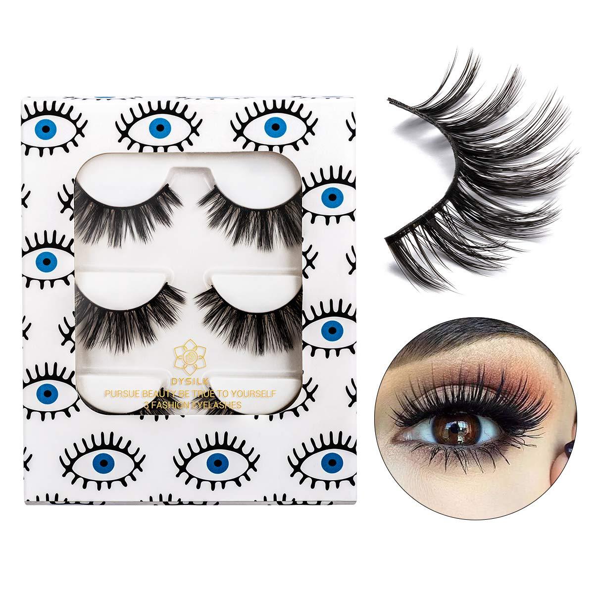 DYSILK 3 Pairs 6D Faux Mink Eyelashes Fluffy Wispy Natural False Eyelashes Soft Handmade Long Fake Eyelashes Reusable Extension Makeup Lashes Black