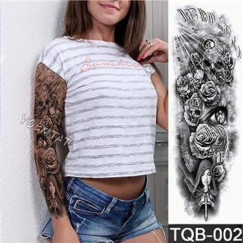 Flor llena brazo tatuaje pegatina ángel diablo rosa cuerpo pintura ...