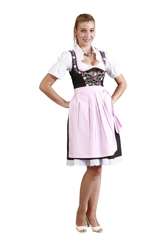 3tlg. Dirndl Set mit Gänseblümchen Schwarz Rosa mit Bluse und Schürze
