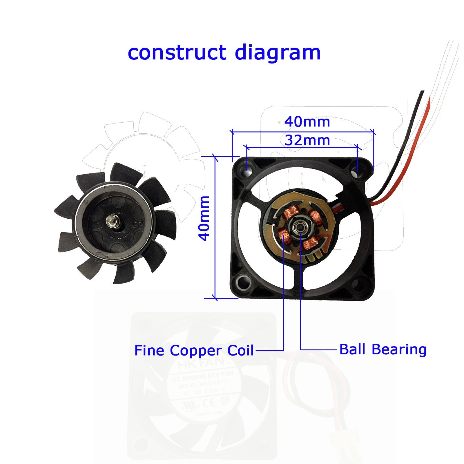 2-packs 40 x 40 x 10mm 4010 12V 0.10A Brushless DC Cooling Fan 2pin AV-F4010MB UL CE by AMBEYOND FAN (Image #3)