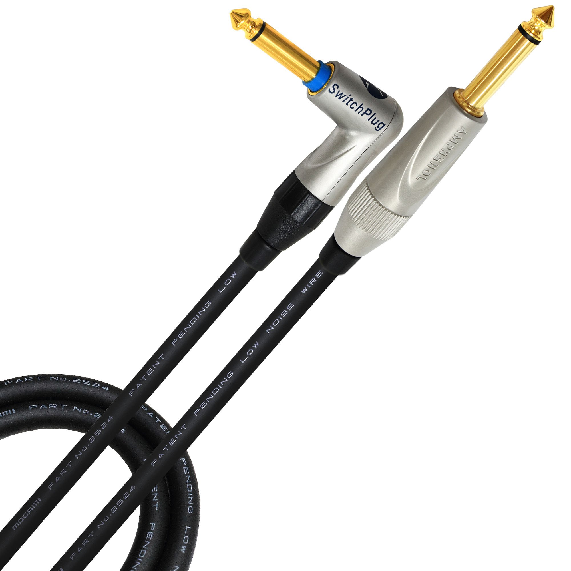 10 Foot - Guitar Bass Instrument Cable CUSTOM MADE By WORLDS BEST CABLES - using Mogami 2524 wire and Amphenol TM1RJ-AU (Silent) & TM2PN-AU ¼ Inch (6.35mm) TS Plugs