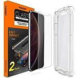"""Spigen, 2Pack, Verre Trempé iPhone XS/X (5.8""""), Kit d'installation Inclus, Premium 9H, Respectueux de la Casse, Compatible Visage ID, EZ FIT Glas.TR, Protection écran iPhone X/XS"""