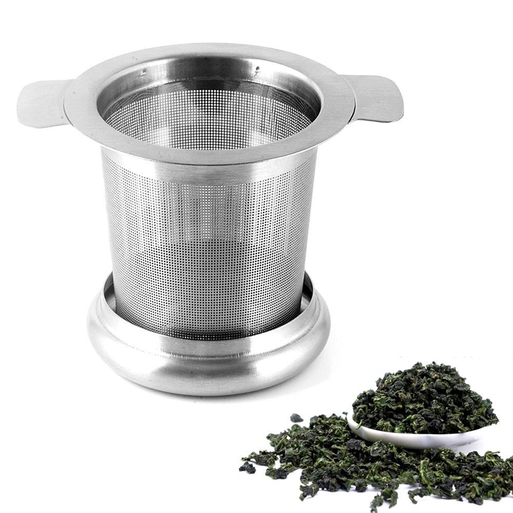 Tea Infuser, Stainless Steel Tea Strainer with Lid, Handles, Tea Filter, Cups, 2pcs by Ragdoll50 (Image #3)