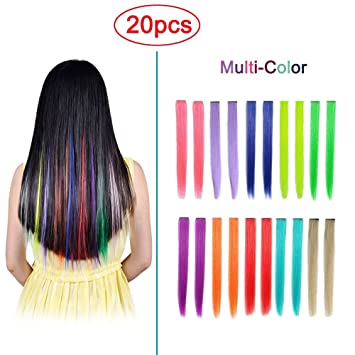 Amazon hawkko 20pcs straight colored clip in hair extensions hawkko 20pcs straight colored clip in hair extensions party highlight multiple colors hairpieces with gift pmusecretfo Image collections