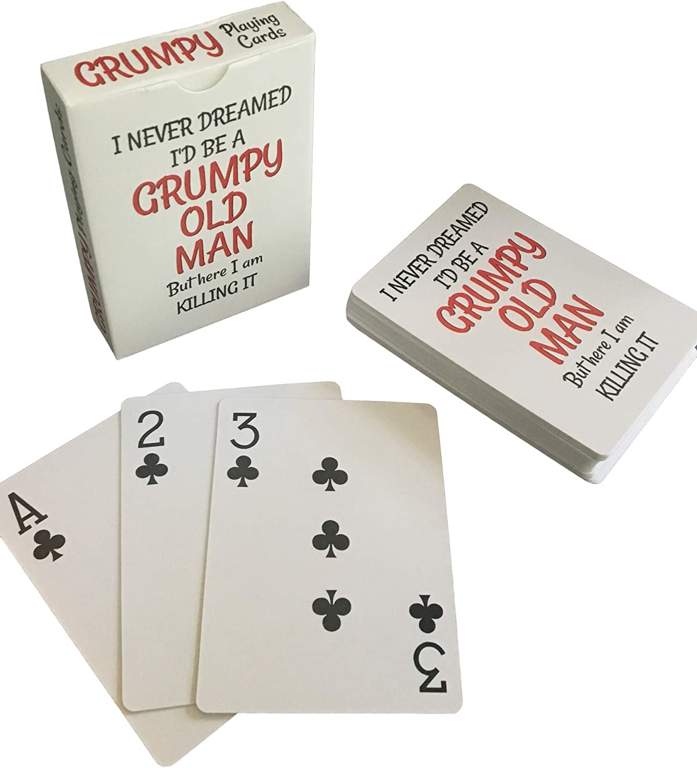 Large Print for Seniors Poker Sized for Texas Holdem Men Novelty Grumpy Old Man Jumbo Index Playing Cards Euchre Gag Gifts for 50th 60th 70th 75th 80th Birthday Bridge War Other Card Game