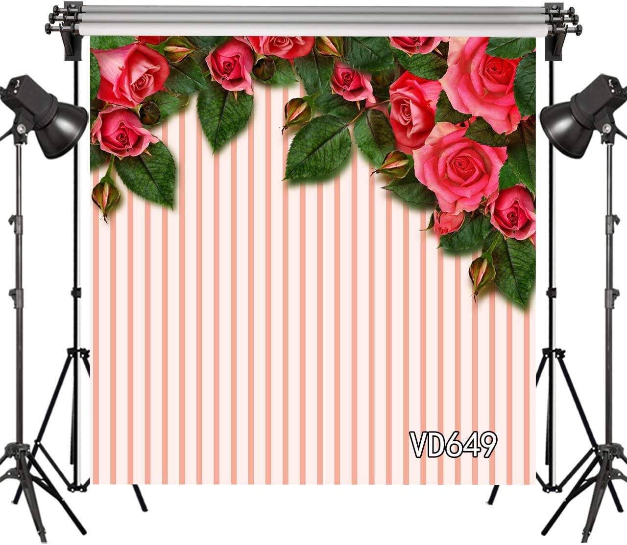 New Photo Studio Background Pink Stripe Red Rose Flower Gold Dots Birthday Backdrops for Photography 7ftx5ft
