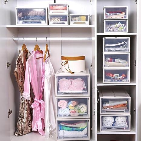 Xuzhang scatola di stoccaggio trasparente cassetto contenitore di plastica armadio ripostiglio - Guardaroba in tessuto ikea ...