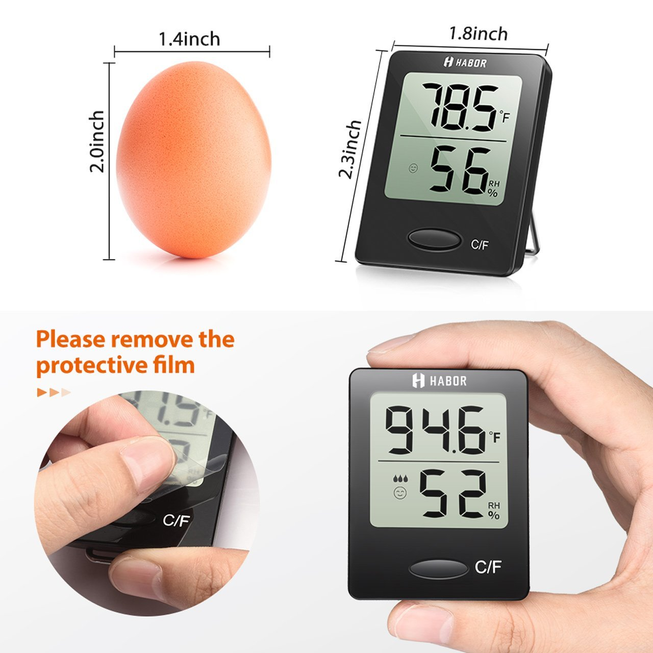 Habor 2 Pack Digital Hygrometer Indoor Thermometer Humidity Gauge Stand Wall Hanging Magnet Greenhouse House Kitchen Car by Habor (Image #2)