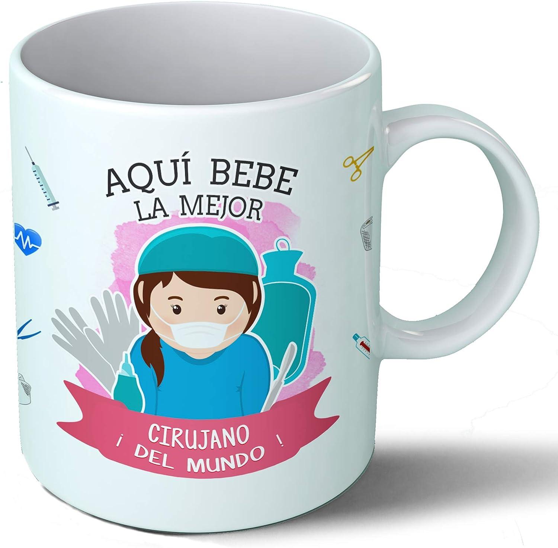 Planetacase Taza Desayuno Aquí Bebe la Mejor cirujana del Mundo Regalo Original Cirujano quirófano Ceramica 330 mL