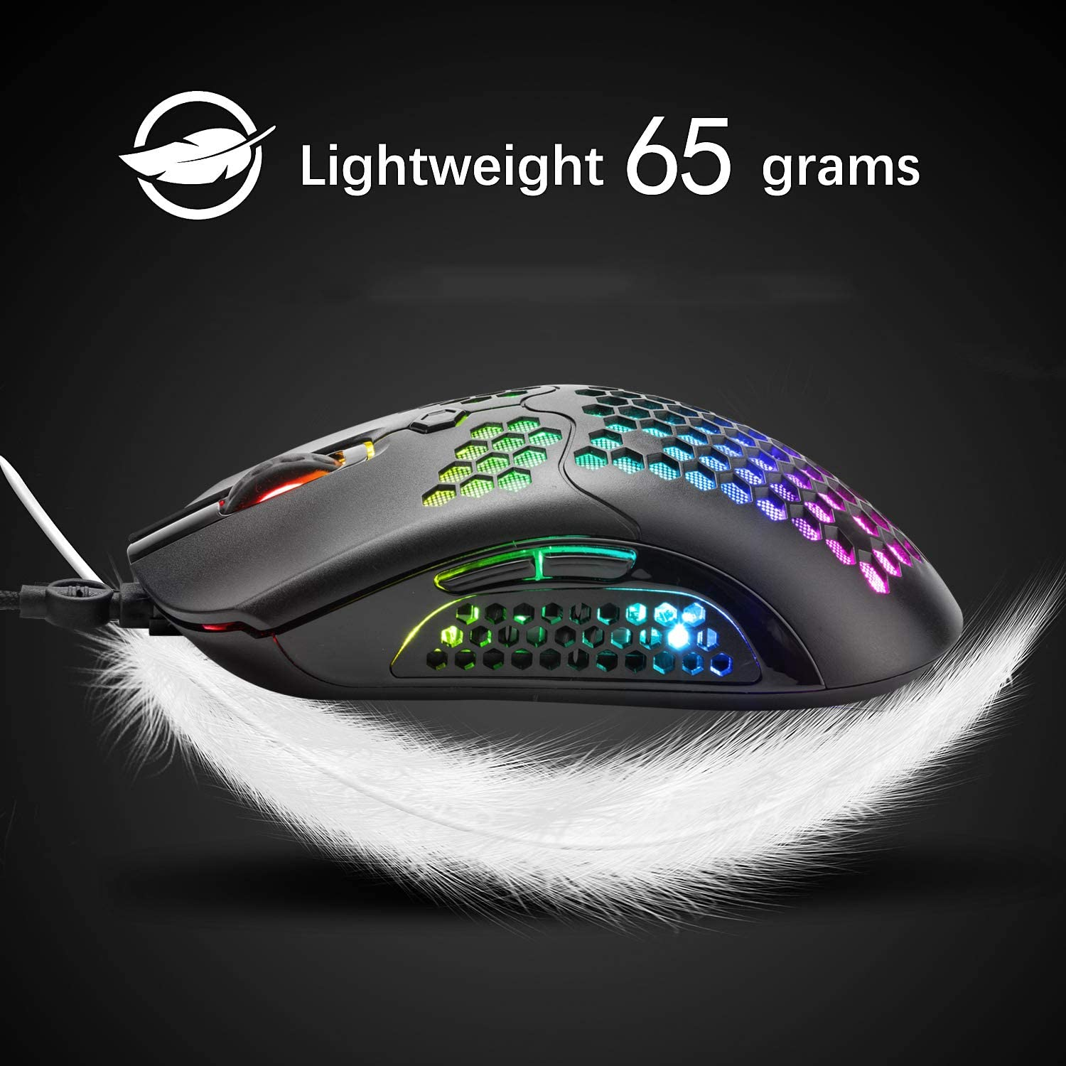 26 RGB Backlit Mice /& 7 Buttons Programmable Driver,PAW3325 12000DPI,Ultralight Honeycomb Shell Ultraweave Cable Mouse Compatible with PC Gamers and Xbox and PS4 Lightweight Wired Gaming Mouse