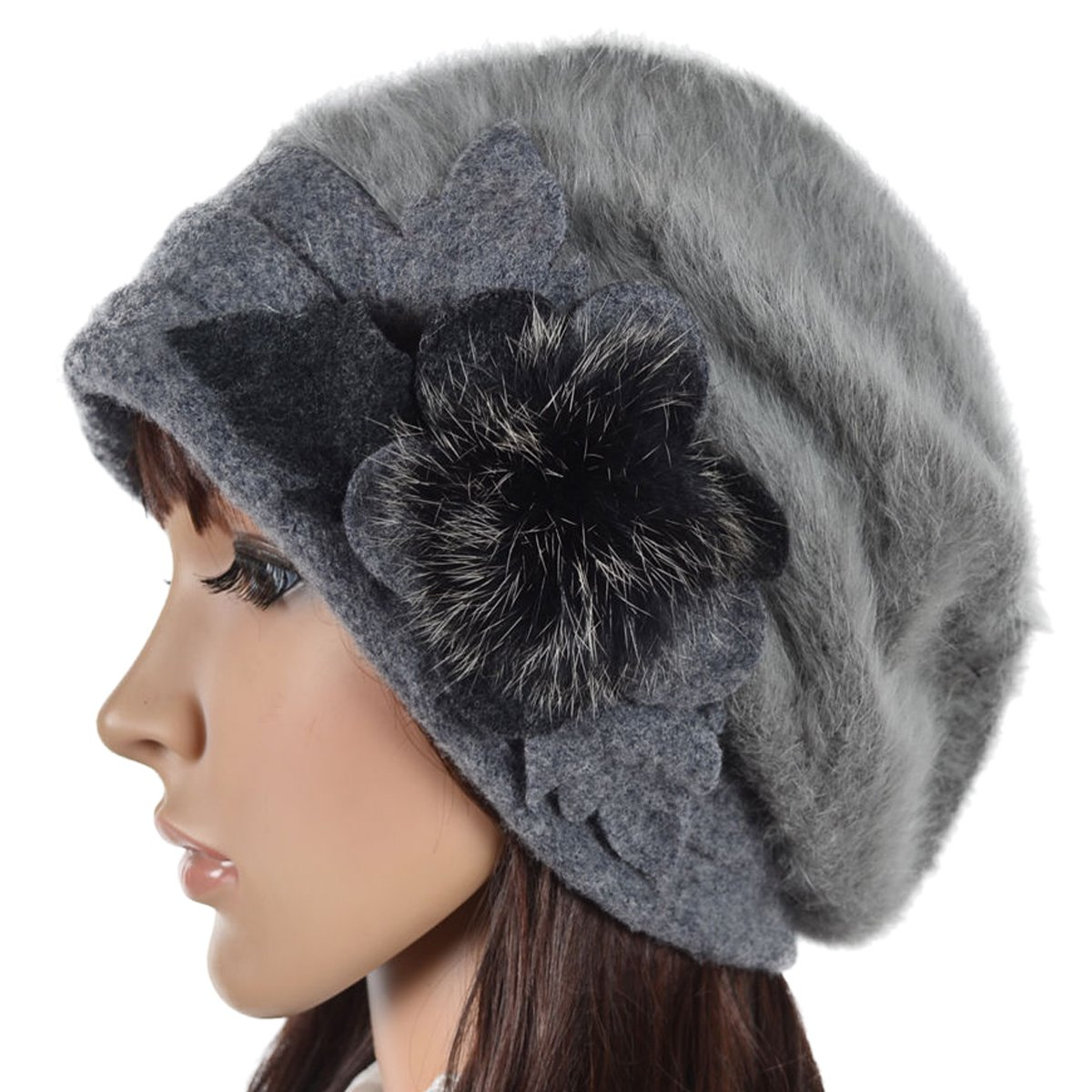 Women's French Beret - 100% Wool Cloche Hat - Beret Beanie for Winter C020 (Br022-Grey)