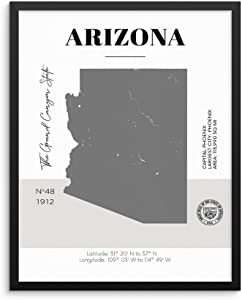 "Sincerely, Not Arizona State Map Poster with Demographics Minimalist Home Decor Travel Art Print 11x14 UNFRAMED Trendy Artwork for Bedroom Living Room Entryway Office or Dorm (11""x14"" AZ)"