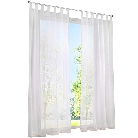 ESLIR Gardinen mit Schlaufen Vorhänge Fensterschal Transparent Schlaufenschal Voile Weiß BxH 140x245cm 1 Stück