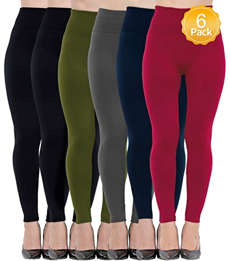 Diravo 6 Pack Women S Fleece Lined Leggings Soft High Waist Slimming