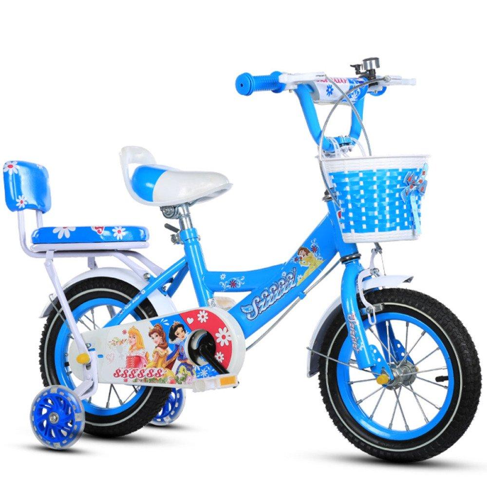 BICYCLE AB Bicicletta Bambini 2-3-4-6-7-8 Anni Ragazzi e Ragazze 12-14-16-18 Pollici Biciclette per Bambini Regalo per Ragazzi e Ragazze ( Colore   Blu Scuro , Dimensione   12 inch )