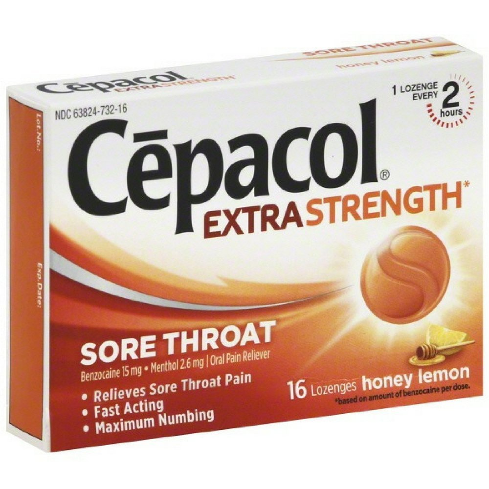 Cepacol Maximum Strength Throat Drop Lozenges, Honey Lemon, 16 ct