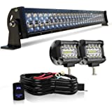 "KEENAXIS 32"" LED Light Bar 180W 5D Upgrade Chipset W/ 2Pcs 4in 60W PODS Cube Driving Fog Lamp w/Rocker Switch Wiring…"