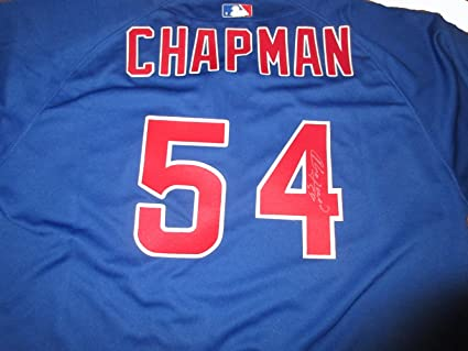 c72d27772 Aroldis Chapman Autographed Chicago Cubs Jersey W/PROOF, Picture of Aroldis  Signing For Us