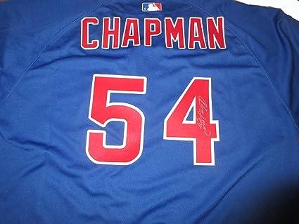 online retailer 07c84 69989 Aroldis Chapman Autographed Chicago Cubs Jersey W/PROOF ...