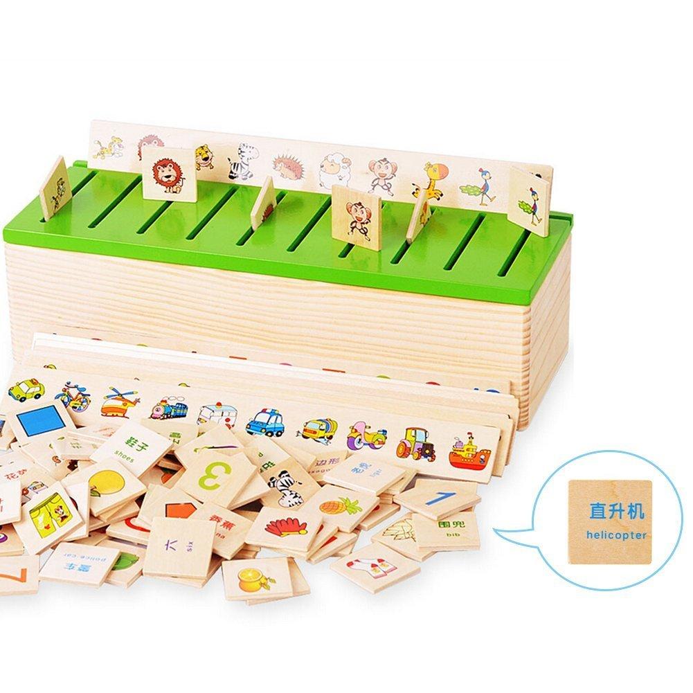 Montessori Puzzle Learning Jouets Connaissance Boîte de classification Jouets en bois Numéro d'éducation
