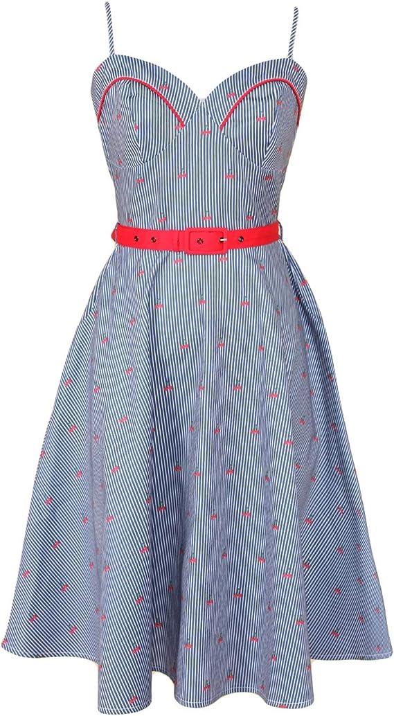 1950s Dresses, 50s Dresses | 1950s Style Dresses Voodoo Vixen Shelley Womens Cherry & Stripe Print Sleeveless Sweetheart Belted A-Line Dress $76.95 AT vintagedancer.com