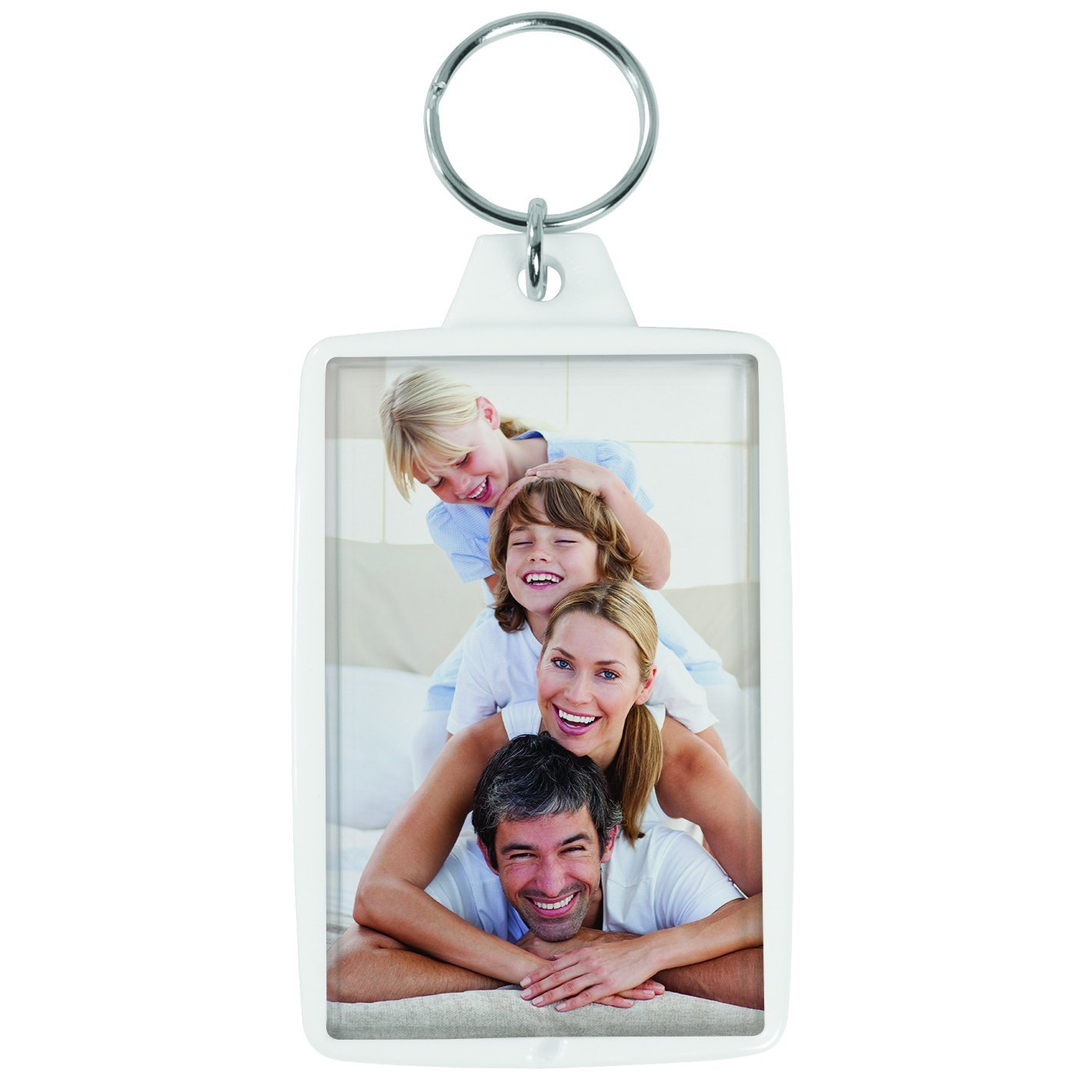 Snapins White 1.75'' x 2.75'' Photo Keychains - Case of 144